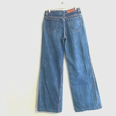 Vintage 1970's High Waisted Wide Leg Super Bell Bottom Jeans Hippy Boho 32X36
