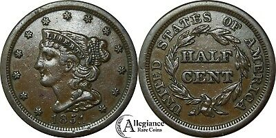 1851 1/2c Braided Hair Half Cent AU+ repunched date RPD rare old type coin