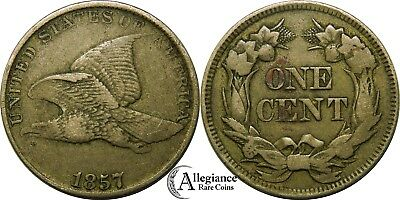1857 1c Flying Eagle Cent VF+ lovely original rare old type coin penny