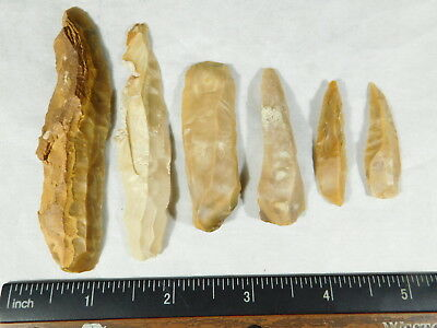 Lot of SIX! 9,000 to 4,000 Year Old Lithic Arifacts! Bir Gandus Morocco 40.8gr e