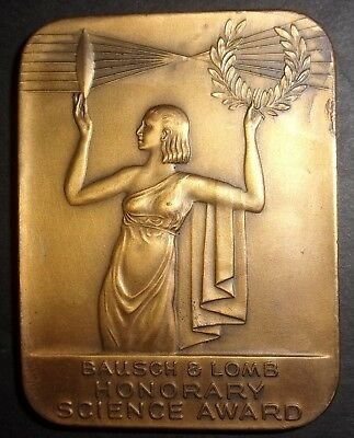 Vintage Art Deco Era Bronze Medallion Medal BAUSCH & LOMB Honorary Science Award