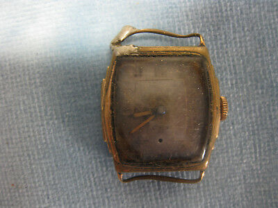 GOLD FILLED WRIST WATCH not working - for restoration repair parts 17 jewels