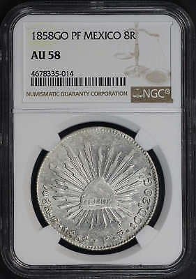 1858GO PF Mexico Silver 8 Reales NGC AU-58 -173660