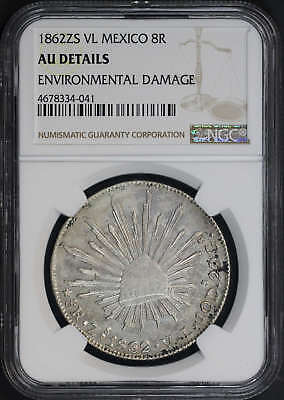 1862ZS VL Mexico Silver 8 Reales NGC AU Details Environmental Damage -173654