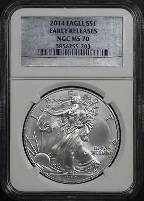 2014 American Silver Eagle NGC MS-70 Early Release Silver Label -161377