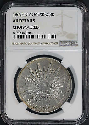 1869HO PR Mexico Silver 8 Reales NGC AU Details Chopmarked -173649