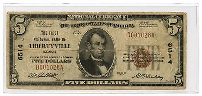 1929 $5 Banknote Type 1 The First National Bank of Libertyville, IL Ch #6514