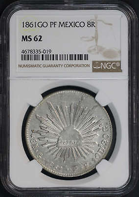 1861GO PF Mexico Silver 8 Reales NGC MS-62 -173647