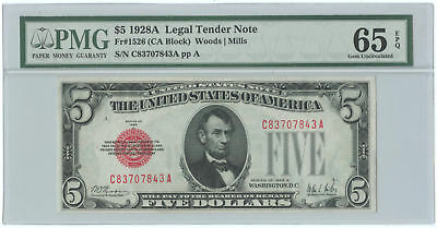 1928A $5 United States Legal Tender Note PMG Gem UNC 65 EPQ