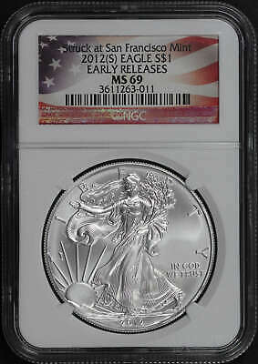 2012-(S) American Silver Eagle NGC MS-69 Early Release Flag Label -161802