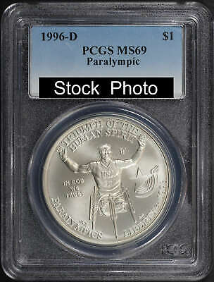 1996-D Paralympic Wheel Chair Silver Dollar Commemorative PCGS MS-69 -136099