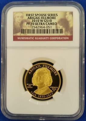 2010-W US 1/2oz GOLD $10 First Spouse ABIGAIL FILLMORE NGC PF70 Ultra Cameo  L25