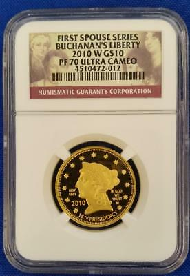 2010W US 1/2oz GOLD $10 First Spouse BUCHANAN'S LIBERTY NGC PF70 Ultra Cameo 2
