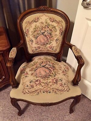 French Louis XV Style Italian Arm Chair Tapestry Chateau D'ax spa