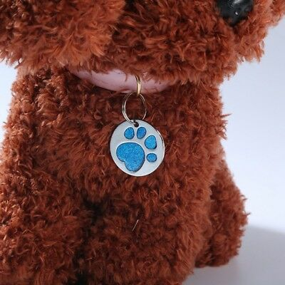 Personalised Engraved Glitter Paw Print Tag Dog Cat Pet ID Tags Reflective New