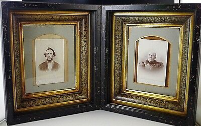 Pair Eastlake Identical Victorian Wood Shadow Art Frame With Photos Antique