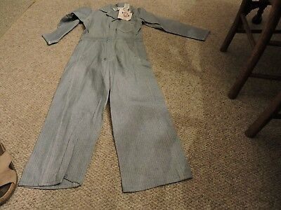 Vintage Key Imperial Herringbone Striped Coveralls Overalls Denim Sz 12 US Made