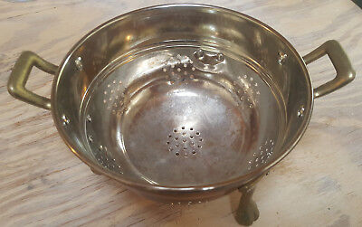 "VINTAGE SOLID COPPER 6"" BERRY COLANDER WITH BRASS LEGS - Tin Plated Interior"
