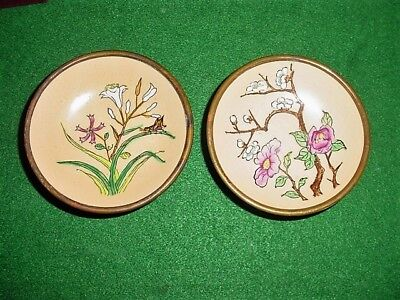 2 Porcelain Pin Bowls Gorgeous Floral/copper Japan Ware Hdpted In Hong Kong