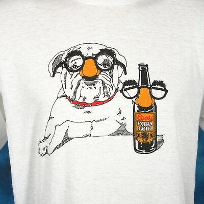 vintage 80s COORS EXTRA GOLD LAGER BEER CARTOON BULLDOG PAPER THIN T-Shirt M/L