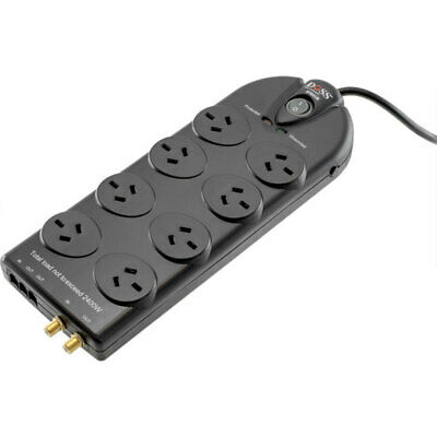 Doss 1.8M Black Cord Extension 8 Way Power Board Powerboard Surge Protected