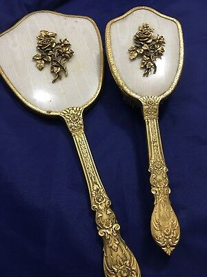 Vintage 24 kt Gold Plated Mirror with Brush Set - Roses