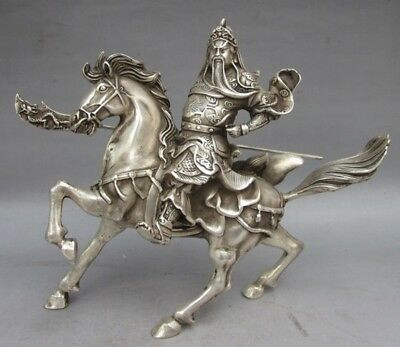 Asian Antique Chinese ancient god of war Guan Yu General Miao Silver statue