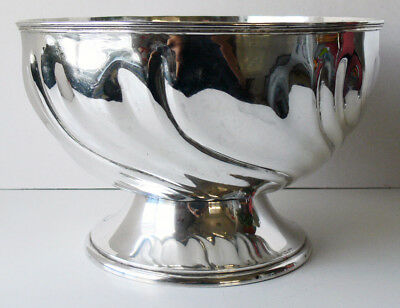 Vtg/ antique .800 silver SCHLEISSNER swirled PUNCH BOWL over 3.5 lbs HAND CHASED