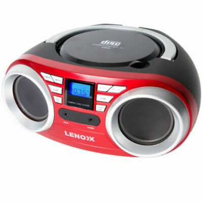 Lenoxx Red Portable Speaker Boombox FM radio CD CD-R CD-RW Player Aux in 3.5mm