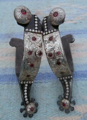 Vintage Engraved Sterling Silver Red Stones Iron Horse Spurs Kenny Hanson