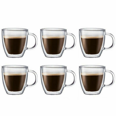 6pk 250ml  Double Wall Thermo Glass Cup Mug Glasses Hot Cold Drink Coffee tea