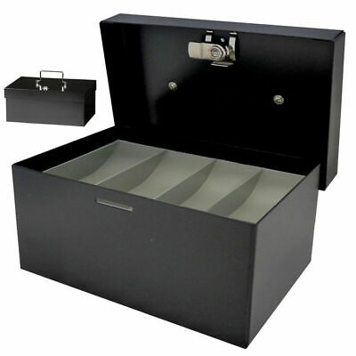 209mm Portable Cash Money Coins Box No.08 tray Organiser Sturdy Metal key lock