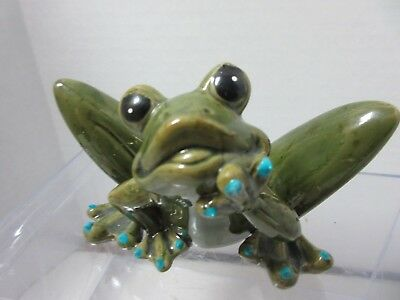 Vintage Pottery FROG Figurine Blue Finger Nails Thinking Pose Cute!