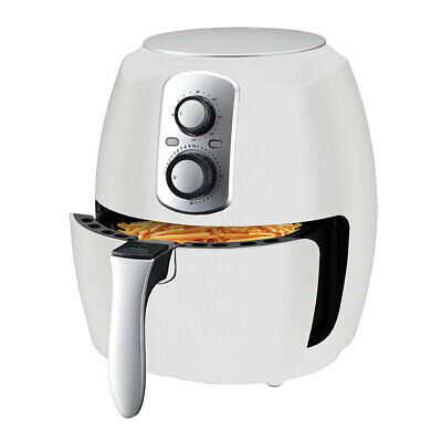 3.5L White Airfryer Turbo Cooker Low Fat Healthy Cooking 1400W Dishwasher Safe