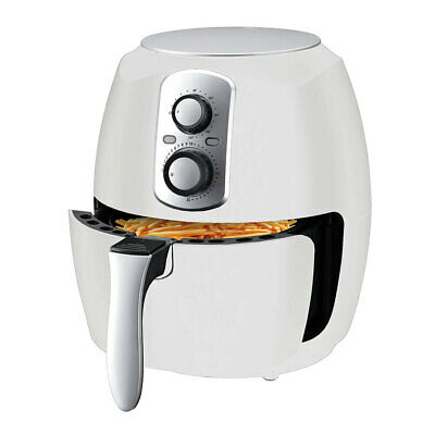 3L White Airfryer Turbo Cooker Low Fat Healthy Cooking 1400W Dishwasher Safe