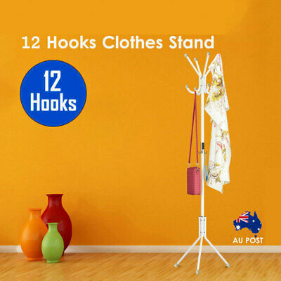 12 Hook Coat White 3 Tier Hanger Stand Hat Clothes Rack Storage Metal Tree Style