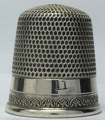 Simons Bros. 2 Band Sterling Thimble - Very narrow band of Palmettes - Size 11