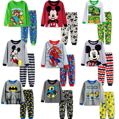 Baby Kids Boys Cotton Nightwear Batman Mickey Mouse Sleepwear Pajamas Set 12M-7