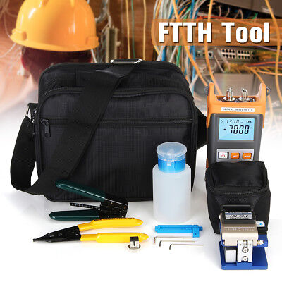 UK FTTH Tool Kit Visible Fiber Optic Fault Locator Meter Tester Cleaver Plier