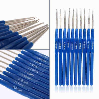 10pcs/Set Small Crochet Hooks Needles Stitches Knitting Craft Case Crochet Blue