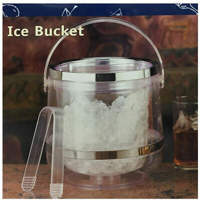 Double Wall Ice Bucket Wine Beer Champagne Acrylic Bottle Cooler Lid Tongs