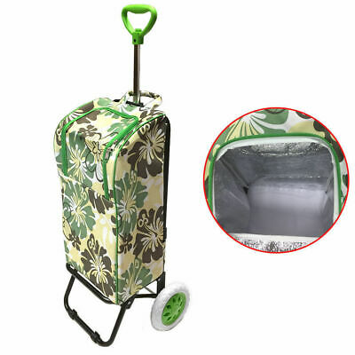 Foldable Thermo Cooler Shopping Cart Trolley Carry Bag Insulated Basket - Green