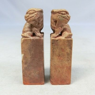 G339: Chinese pair of seal of stone ware with foo dog statue