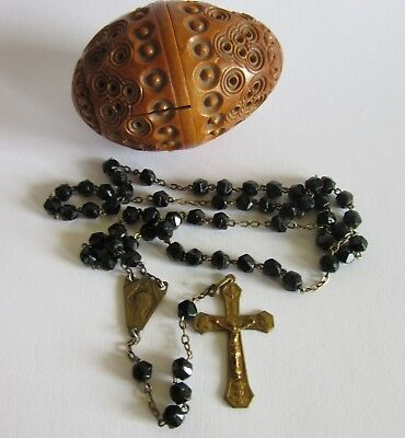 Antique French Rosary with Carved Corozo Box Ended 19th Century