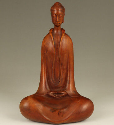 Big chinese old Boxwood hand carving buddha blessing feng shui home decoration
