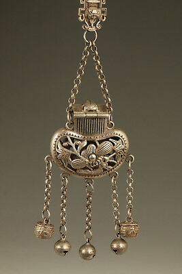 chinese old copper plated silver handmade hollow out flower snuff bottle pendant