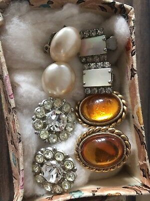 Job Lot of Pretty Vintage/Retro 1950s Clip On Earrings in Vintage Box