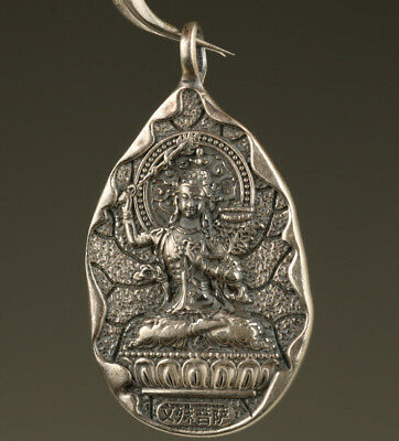 33g S999 Fine silver Chinese Hnad Carved Buddha Pendant Netsuke Blessing gift