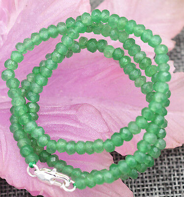 """2x4mm Faceted Myanmar Natural Emerald Abacus Gems Necklace 18"""" Silver clasp"""