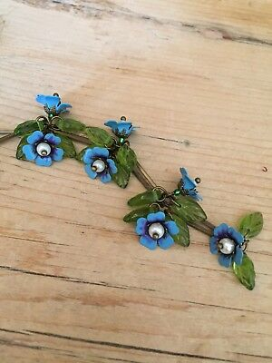 Art Deco /pre Raphaelites Vintage Style , Forget-me-not enamel flower necklace